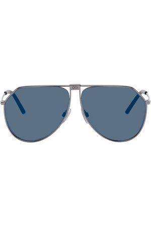 Dolce and Gabbana Gunmetal and Slim Aviator Sunglasses
