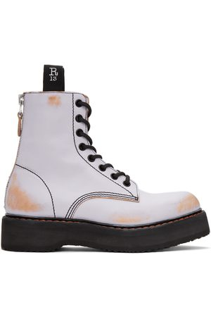 R13 Men Lace-up Boots - Distressed Stack Boots