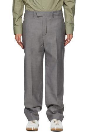 Ader Error Grey Herringbone Slit Trousers