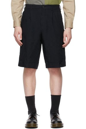 Comme des Garçons Navy Pleated Bermuda Shorts
