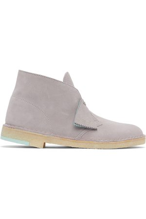 Clarks Men Lace-up Boots - Grey Suede Desert Boots
