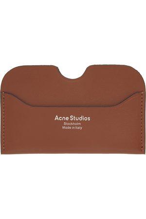 Acne Studios Men Wallets - Tan Logo Card Holder