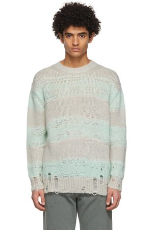 Acne Studios Men Sweaters - And Grey Block Stripe Sweater