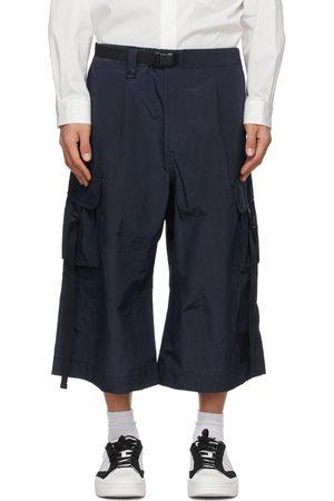 Y-3 Men Pants - Navy Seersucker Brace Sporty Trousers