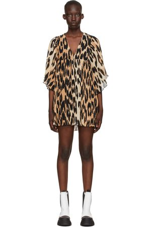 Ganni Beige & Black Georgette Pleated Oversize Mini Dress