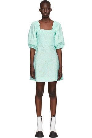 Ganni Blue Printed Poplin Mini Dress