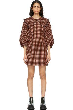 Ganni And Seersucker Check Collar Mini Dress