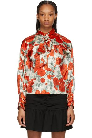 Ganni And Silk Floral Oversized Blouse