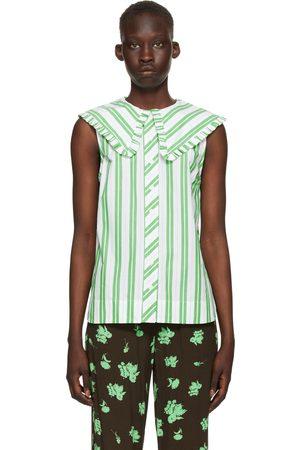 Ganni White & Green Stripe Sleeveless Shirt