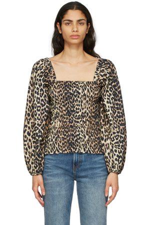 Ganni Women Blouses - Poplin Leopard Blouse