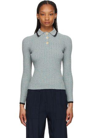 Ganni Linen Rib Knit Polo