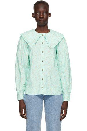 Ganni Blue Printed Poplin Shirt