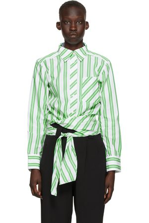 Ganni White & Green Stripe Wrap Shirt