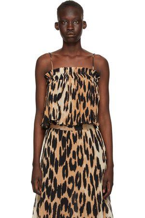 Ganni Beige & Black Georgette Pleated Strap Camisole