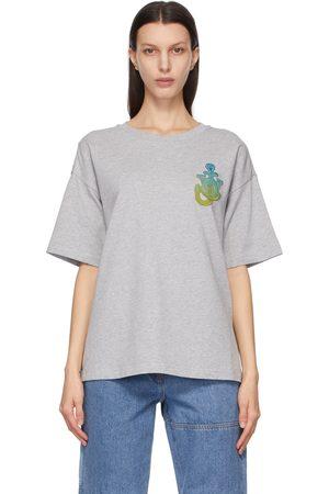 Moncler Genius Women T-shirts - 1 Moncler JW Anderson Grey Boxy Logo T-Shirt