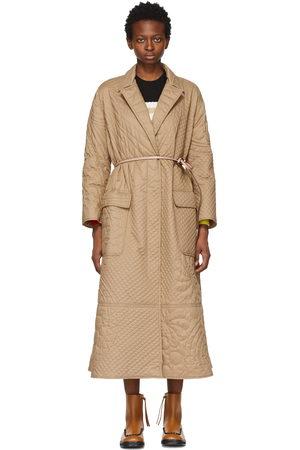Moncler Genius Women Coats - 1 Moncler JW Anderson Khaki Quilted Penbryn Coat