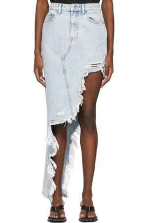 Alexander Wang Denim Asymmetric Frayed Skirt