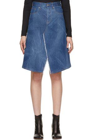 MM6 MAISON MARGIELA Women Midi Skirts - Indigo Faded Denim Skirt