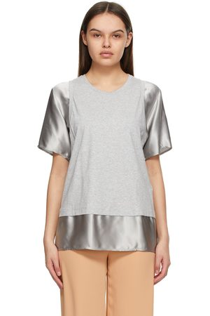 MM6 MAISON MARGIELA Grey and Taupe Satin Sleeve T-Shirt