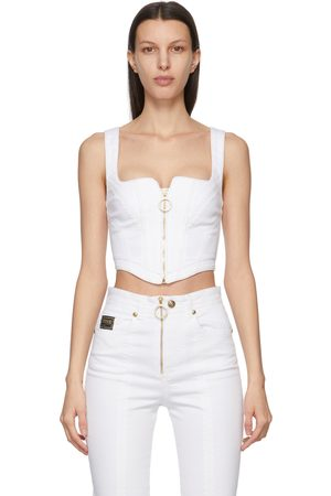 VERSACE Women Tank Tops - Denim Corset Tank Top