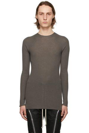 Rick Owens Grey Ribbed Round Sweater
