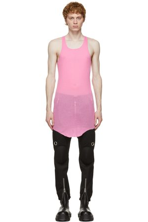 Rick Owens Men Tank Tops - Pink Basic Rib Tank Top
