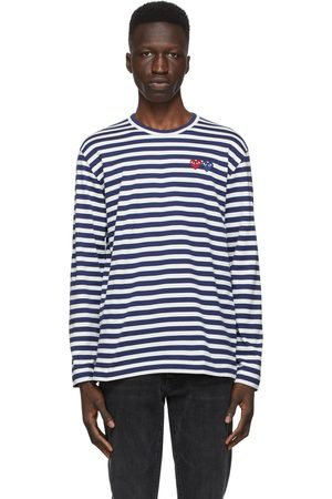 Comme des Garçons Navy and Striped Double Heart Long Sleeve T-Shirt
