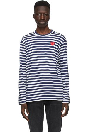 Comme des Garçons Navy and Striped Heart Patch Long Sleeve T-Shirt