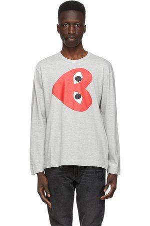 Comme des Garçons Grey Horizontal Heart Long Sleeve T-Shirt