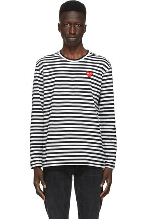 Comme des Garçons And Striped Heart Patch Long Sleeve T-Shirt