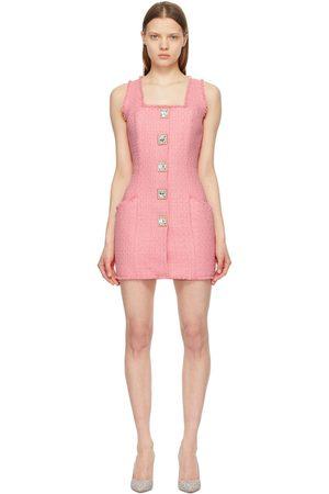 Balmain Women Sleeveless Dresses - Tweed Sleeveless Square Button Dress
