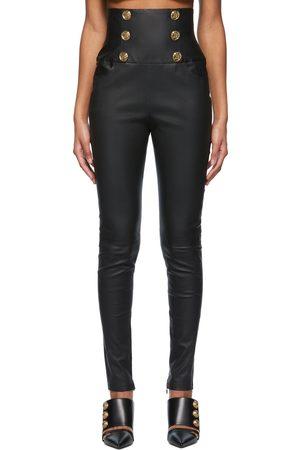 Balmain Women Leather Pants - Leather High-Waisted Skinny Pants