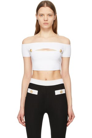 Balmain Off-The-Shoulder Cropped Tank Top