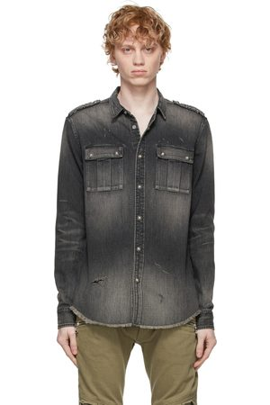 Balmain Grey Denim Embossed Logo Shirt