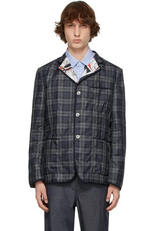 JUNYA WATANABE Men Blazers - Navy Akira Toriyama Edition Linen Check Blazer