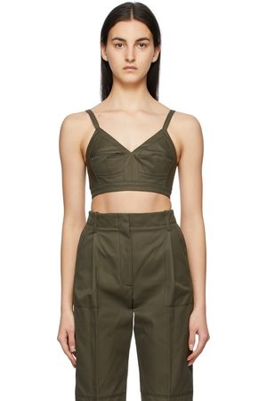 Alexander McQueen Women Camisoles - Khaki Cotton Gabardine Bra Camisole
