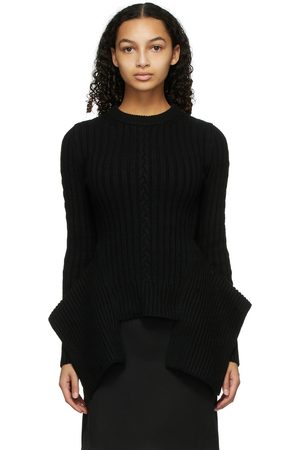 Alexander McQueen Cable Knit Engineered Peplum Sweater