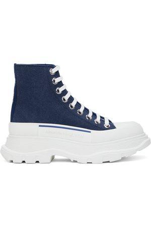 Alexander McQueen Women Sneakers - Indigo Denim Tread Slick High Sneakers