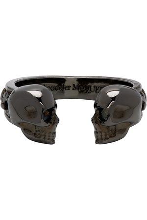 Alexander McQueen Gunmetal Twin Skull Ring