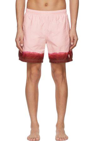 Alexander McQueen And Burgundy Dip Dye Printed Swim Shorts