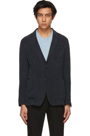 Armani Men Blazers - Navy Jacquard Braid Design Blazer