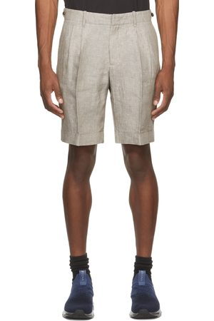 Z Zegna Grey Linen Yarn-Dyed Bermuda Shorts
