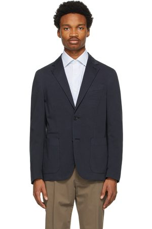 Ermenegildo Zegna Navy Cotton and Silk Blazer