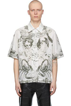 Givenchy Taupe Poplin Printed Short Sleeve Shirt
