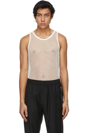 Givenchy Men Tank Tops - Off- Metallized Mesh Slim Fit Tank Top