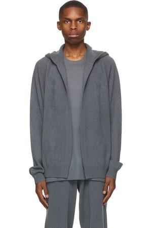 Frenckenberger Grey Cashmere Hooded Bomber Cardigan