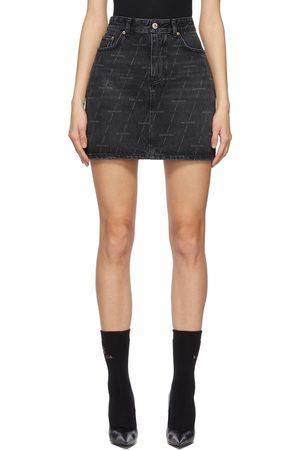 Balenciaga Denim Allover Logo 5 Pocket Miniskirt