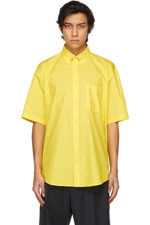 Balenciaga Men Short sleeves - Yellow Logo Normal Fit Short Sleeve Shirt