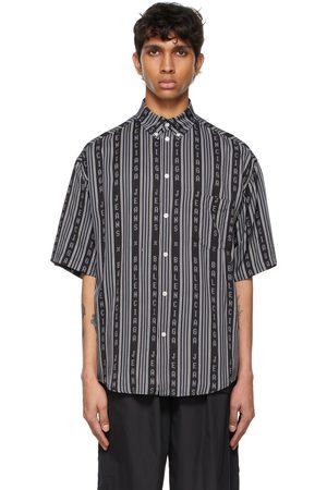 Balenciaga And Grey Logo Stripe Pyjama Short Sleeve Shirt