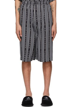 Balenciaga And Grey Logo Stripe Pyjama Shorts
